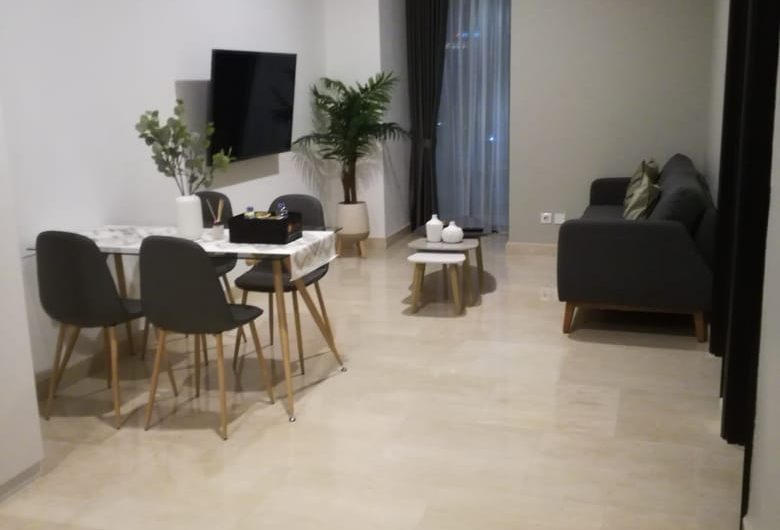 For rent Sudirman Suites Fully Furnished 3 Bedrooms with Scandinavian Interior.